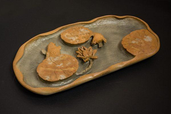 Каменная Чайная доска ручной работы пруд Лотос и рыбы